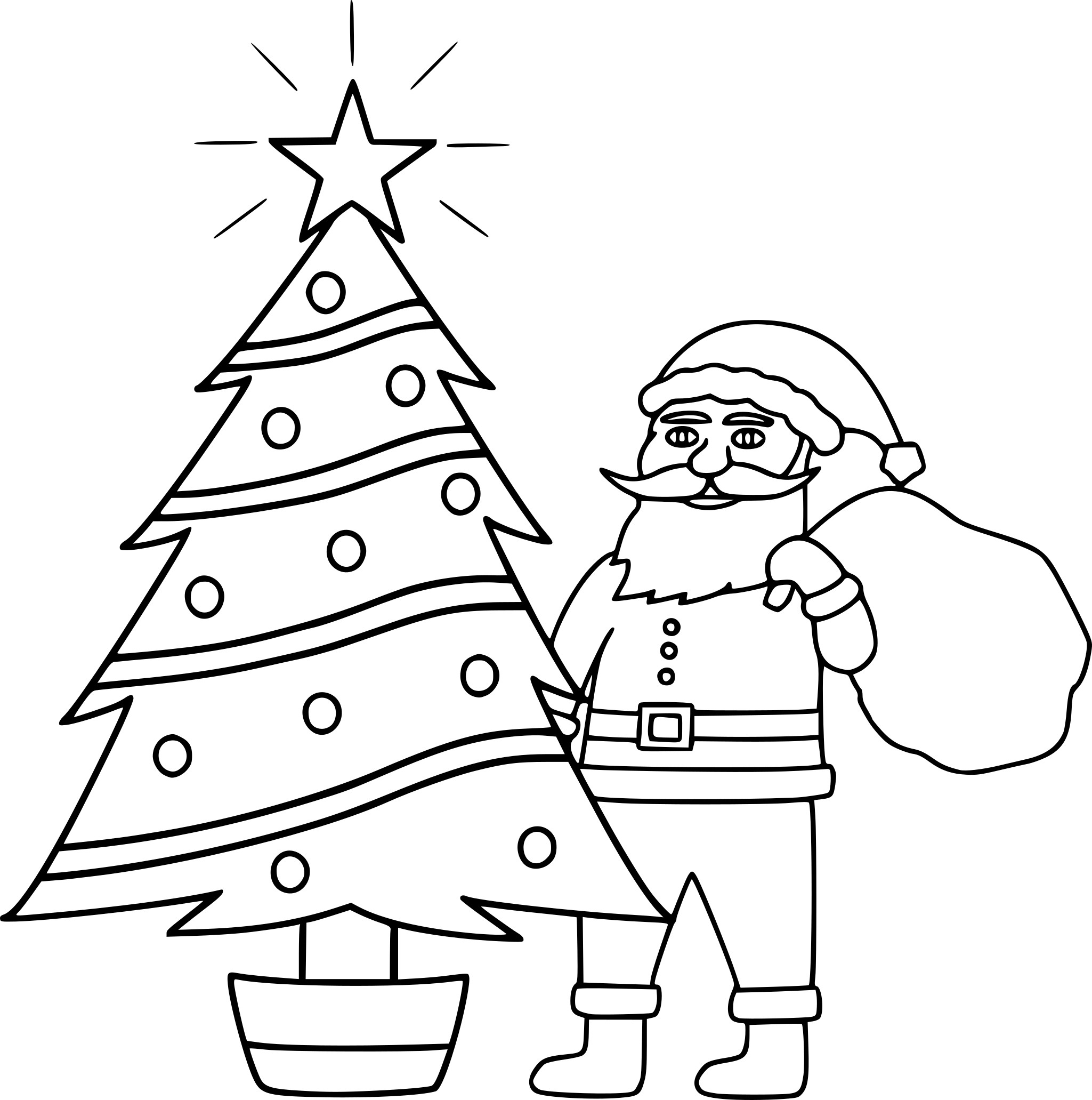 children coloring pages - pere noel et sapin de noel