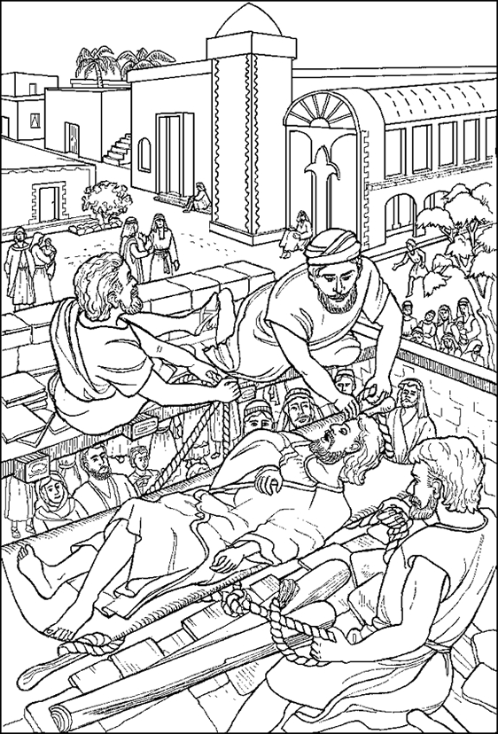 children's bible coloring pages - jesus heals paralytic coloring page