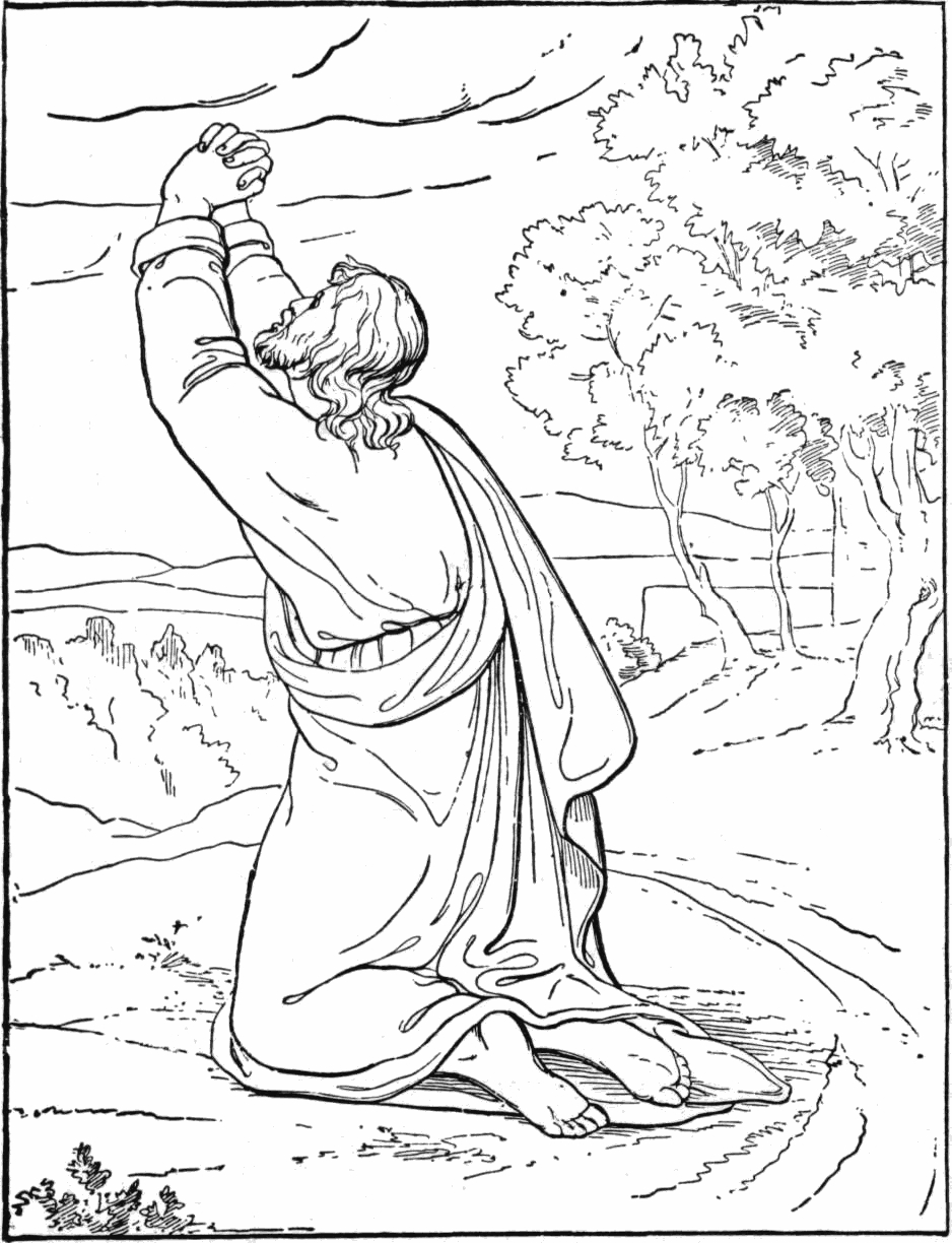 children's bible coloring pages - jesus in the garden of hsemane coloring page