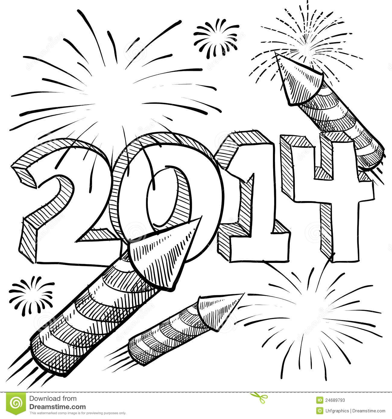 christian coloring pages - stock photos 2014 new year s fireworks vector image