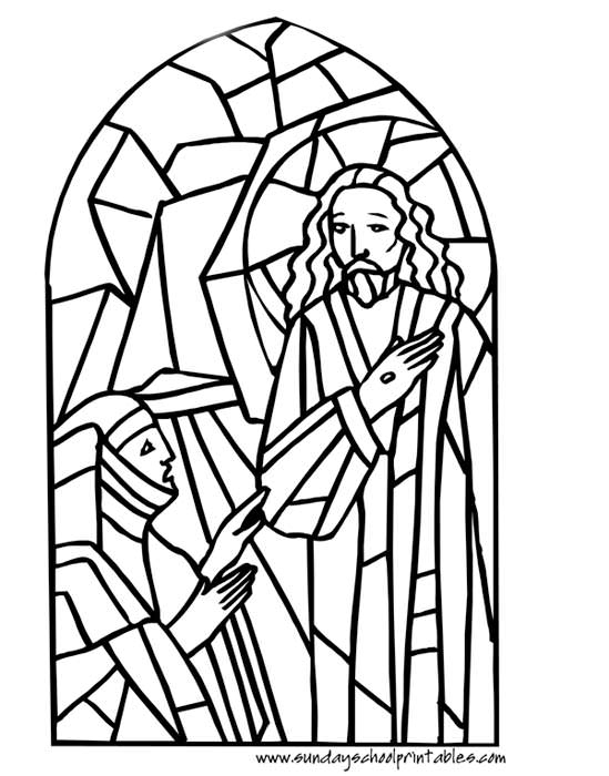 christian coloring pages - christian stained glass windows coloring pages