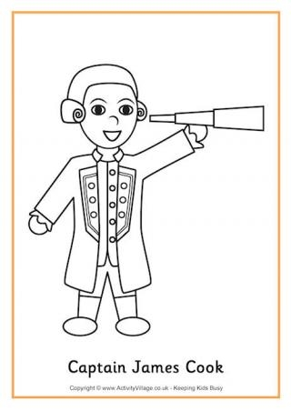 christopher columbus coloring page - captain cook