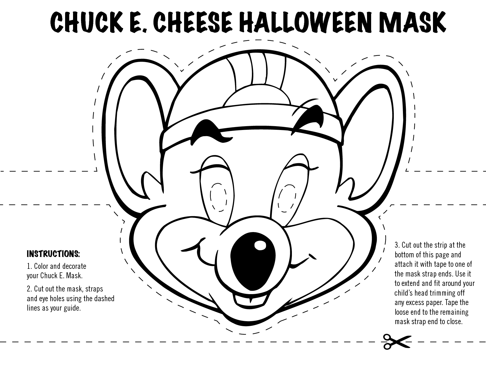 chuck e cheese coloring page - post cut out masks to color