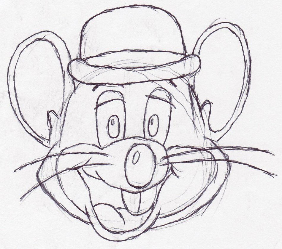 Chuck E Cheese Coloring Page - How to Draw Chuck E Cheese Sketch Coloring Page