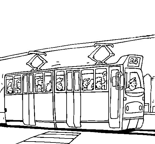 chuggington coloring pages - tranvia con pasajeros