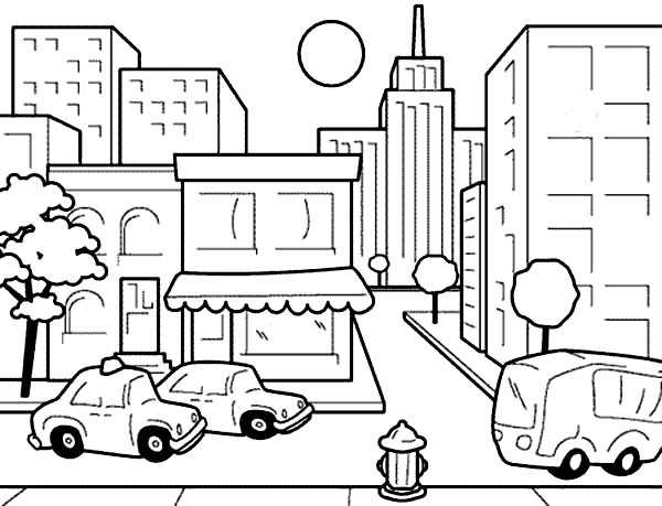 city coloring pages -