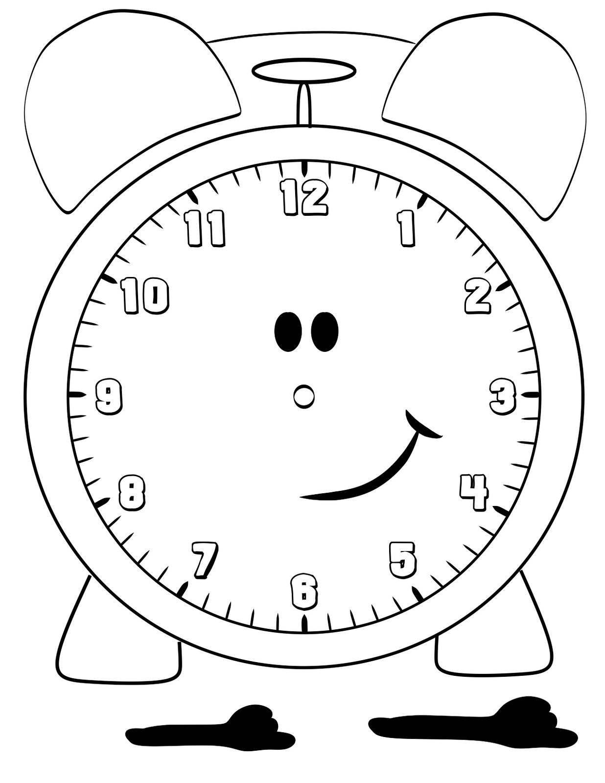 clock coloring page - clock coloring pages