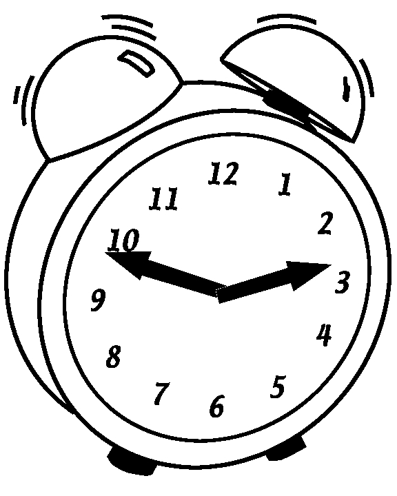 clock coloring page - kids
