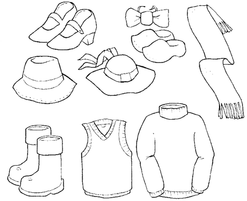 clothes coloring pages - coloring page of winter clothes