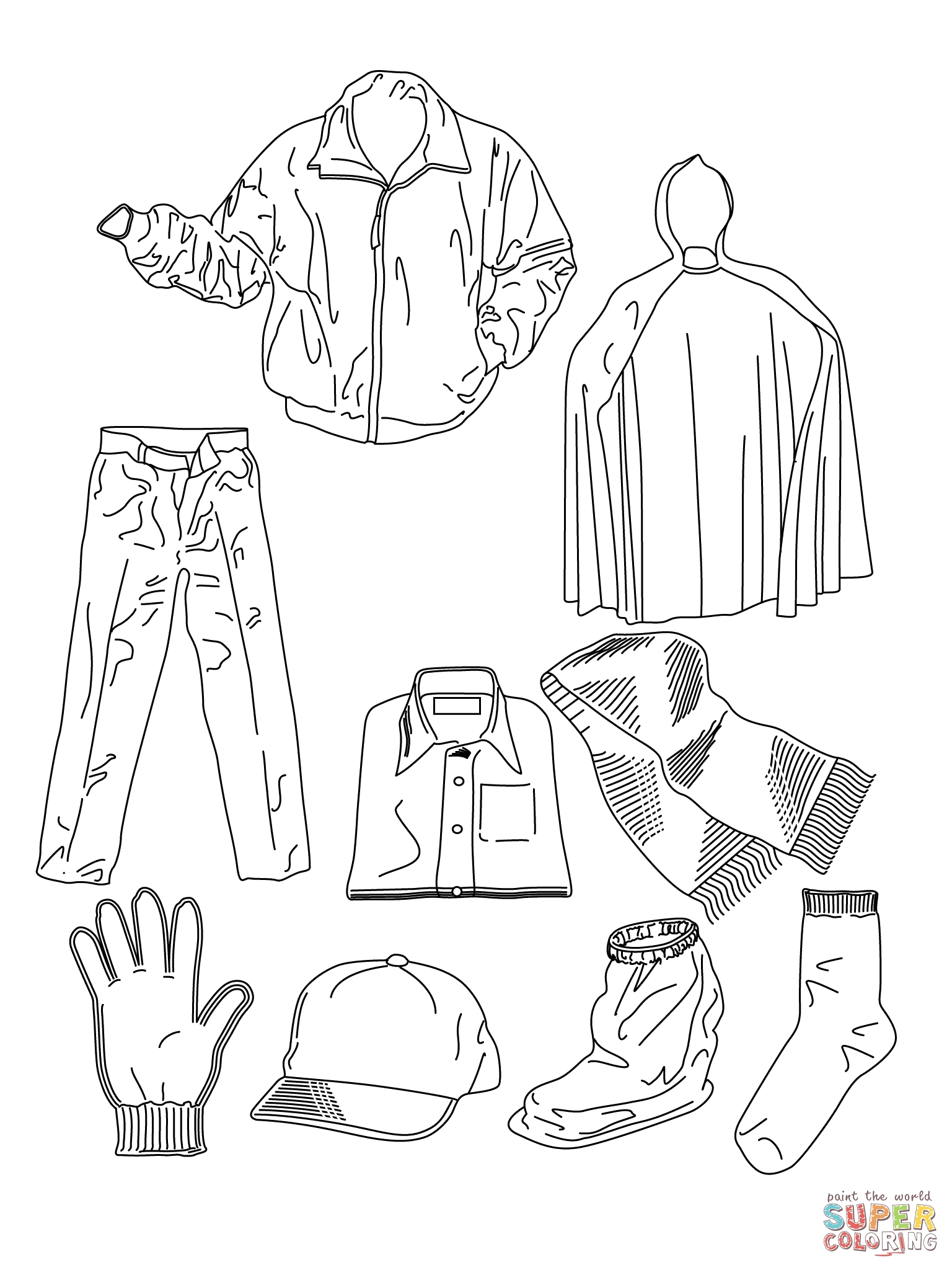 clothes coloring pages - various clothes