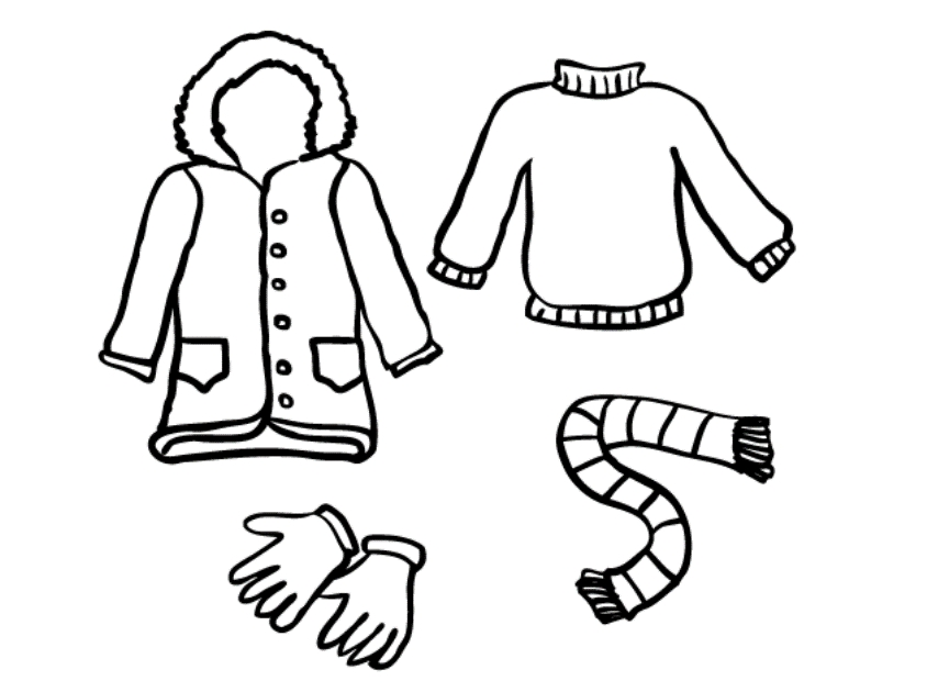 clothes coloring pages - winter clothes coloring pages