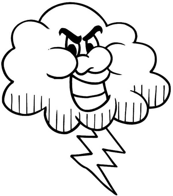 Cloud Coloring Page - Black Cloud and Lighting Bolt Coloring Page