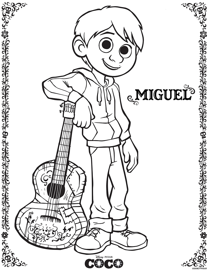 coco coloring pages - disney pixars coco printable coloring pages and activity sheets