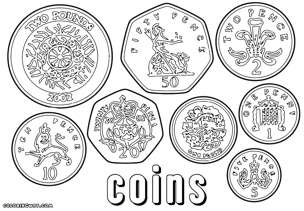 Coin coloring pages blank coin coloring pages sketch templates
