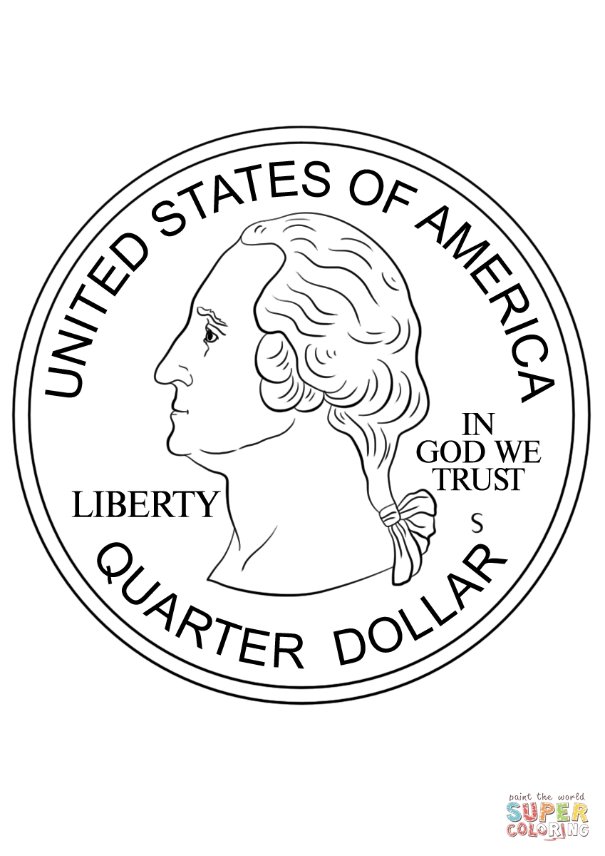 coin coloring pages - quarter coin