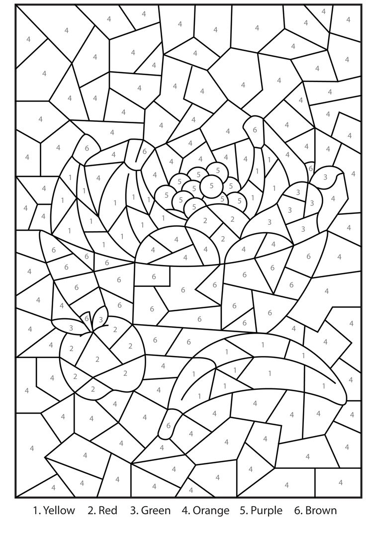 color by number coloring pages free - free printable color number coloring pages