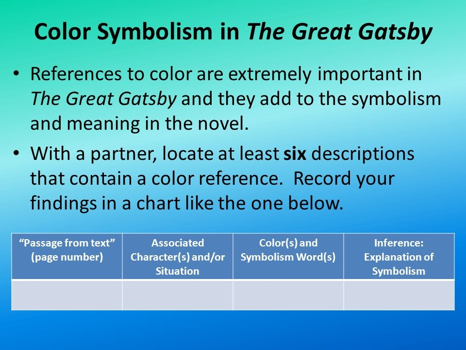 Color Symbolism In the Great Gatsby with Page Numbers - Color Symbolism Directions Brainstorm A List Of