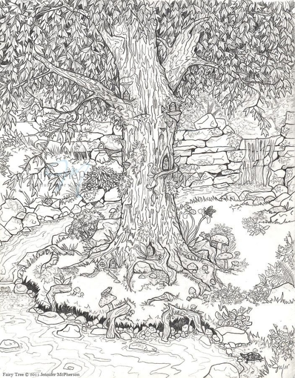 colorama coloring pages - fairy garden coloring page for the little one