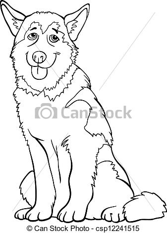 colorama coloring pages - kraftig eller malamute hund cartoon