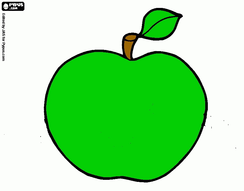 coloring book pages - coloring page green apple