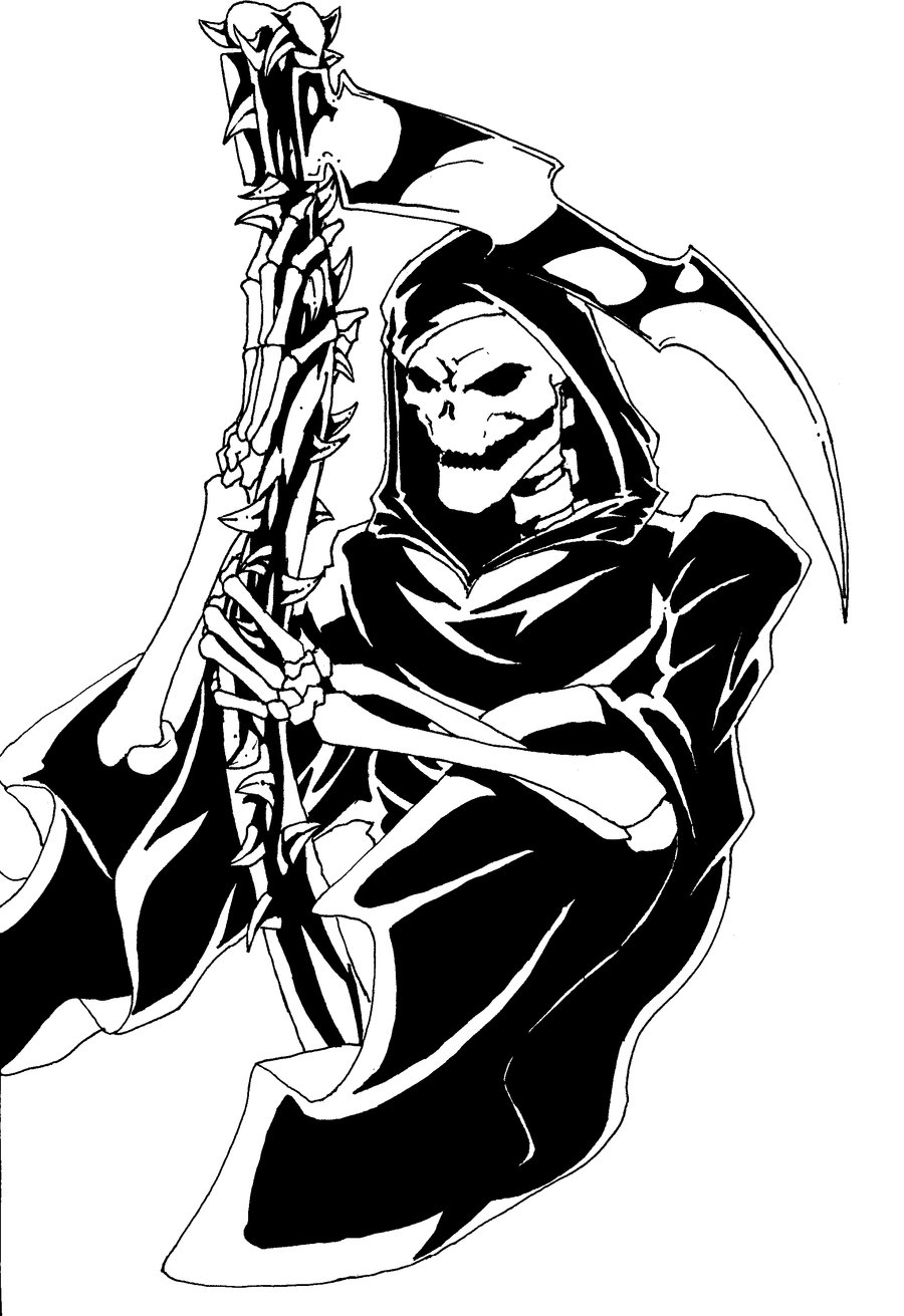 coloring pages blood - Reaper tattoo