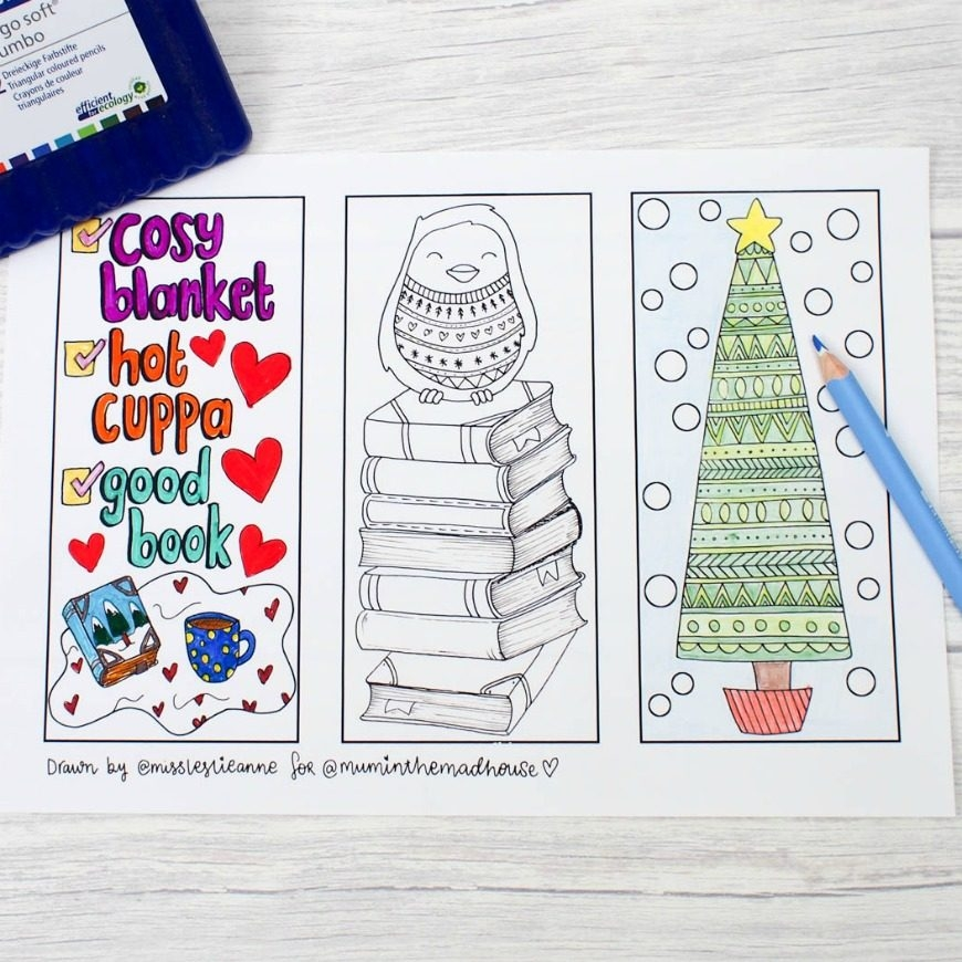 coloring pages blood - winter colouring bookmarks
