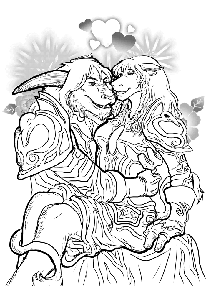 coloring pages blood - World of Warcraft Tauren Love