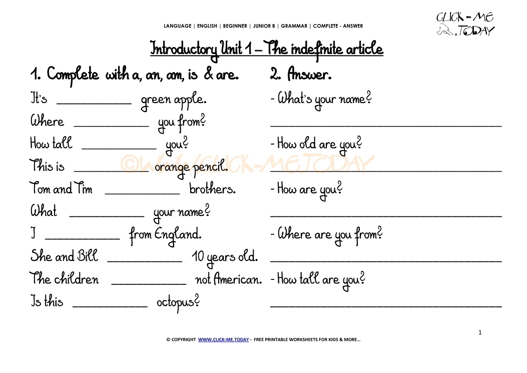 coloring pages for 10 year olds - 1510 free printable grammar worksheet c a the indefinite article iu1