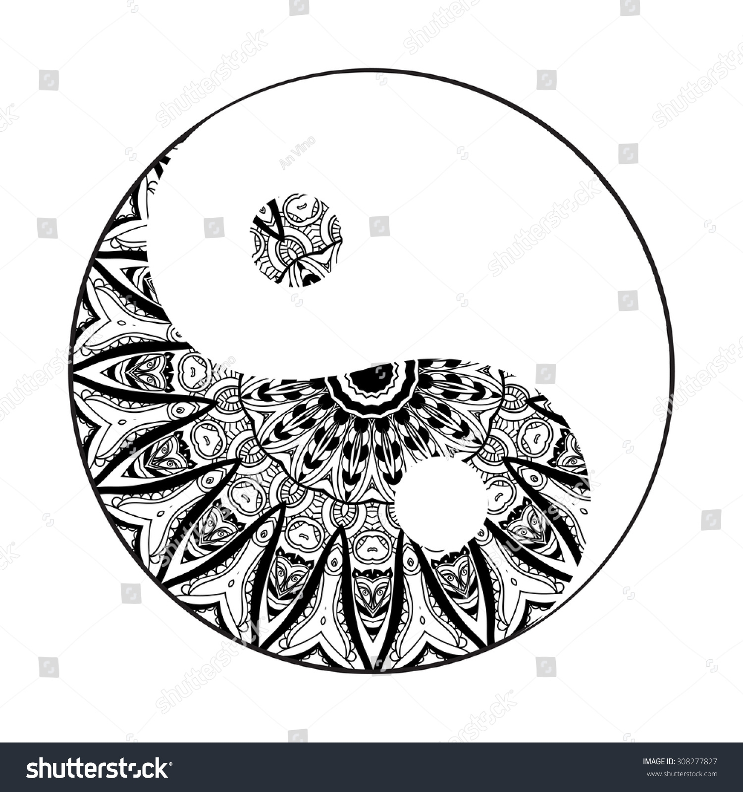 coloring pages for 10 year olds - stock vector ornament card with mandala yin yang geometric circle element made in vector perfect cards for