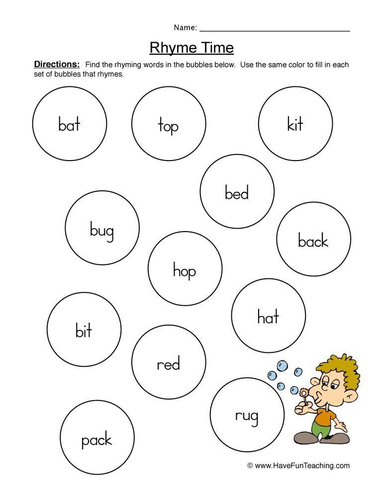 coloring pages for 2 year olds - rhyming words worksheet 1
