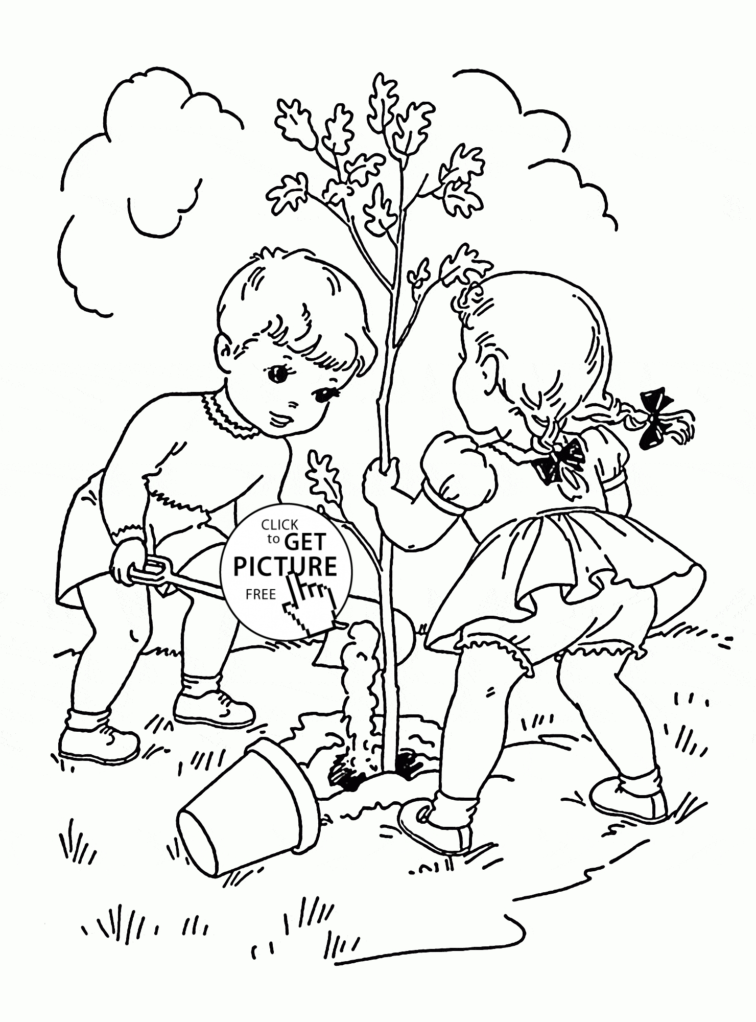 Coloring Pages for Kid - Children Plant Tree Coloring Page for Kids Spring