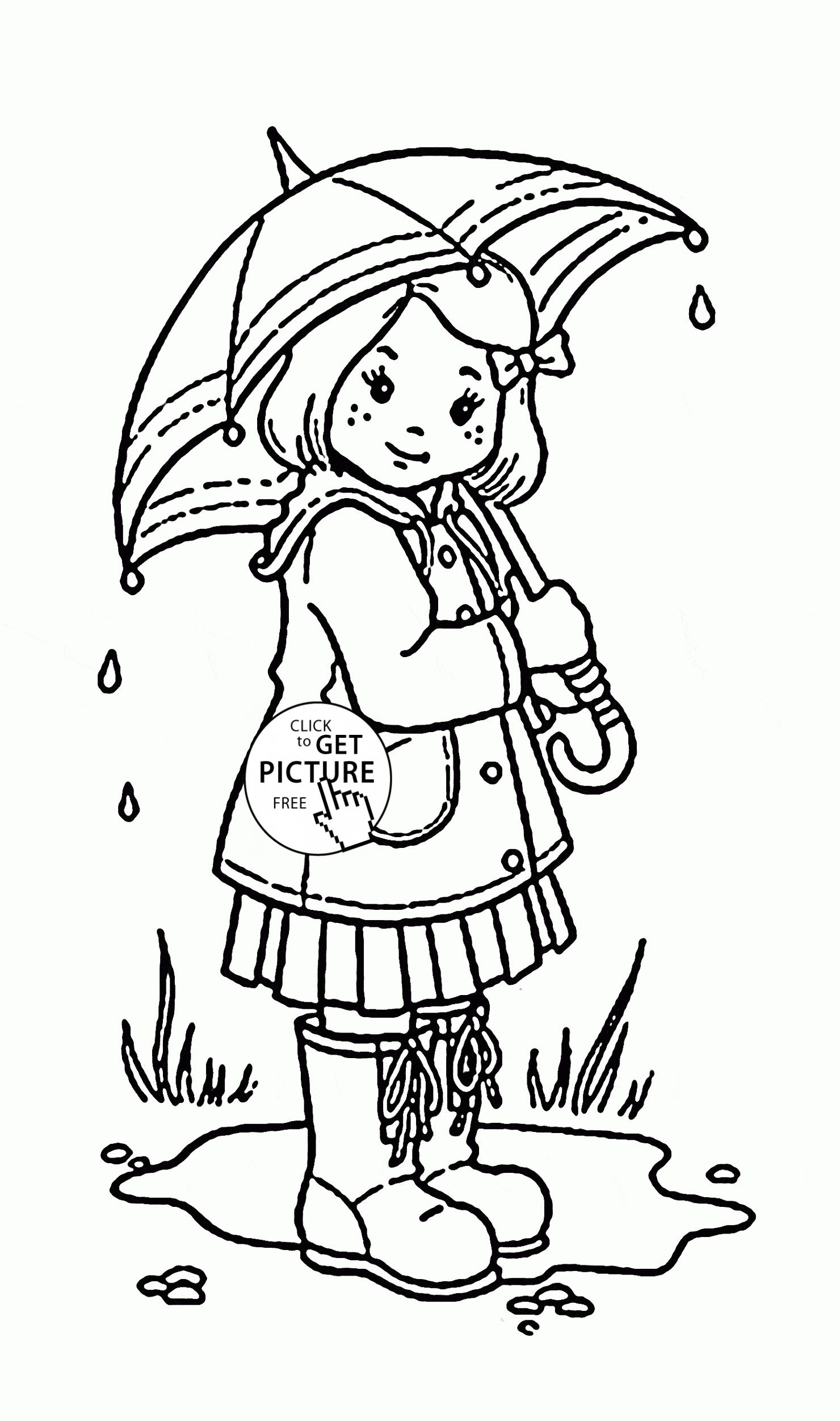 coloring pages for kid - girl and umbrella coloring page for kids spring coloring pages printables free