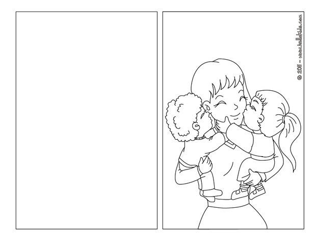 coloring pages for mother's day cards - mother and kids