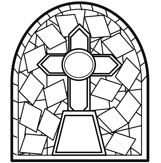 coloring pages for seniors - stained glass window