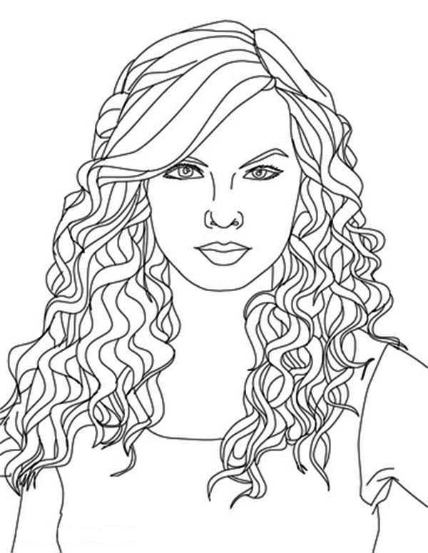 Coloring Pages Hair - Taylor Swift Taylor Swift Curly Hair Coloring Page