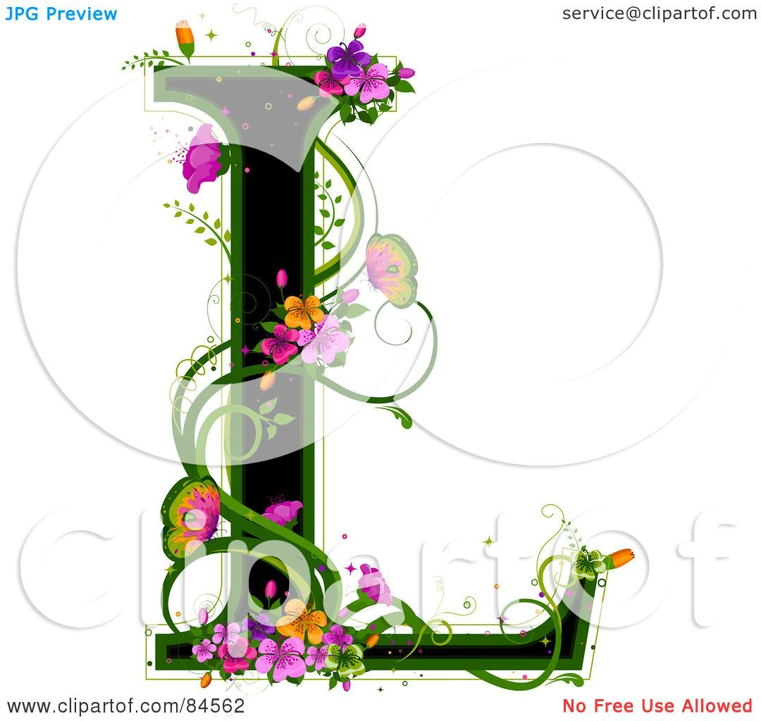 coloring pages of flowers and butterflies - black capital letter l outlined in green with colorful flowers and butterflies