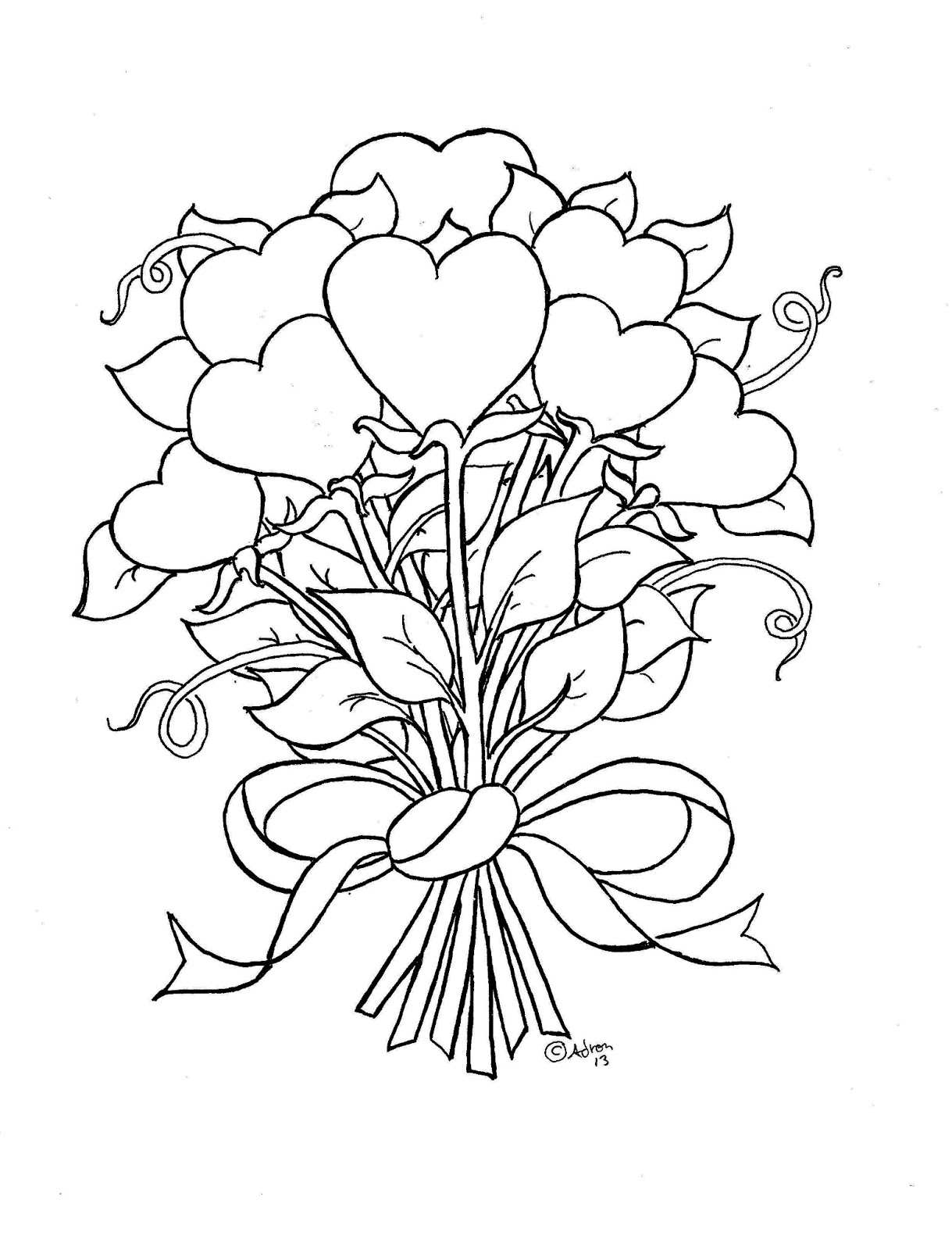 coloring pages of hearts and flowers - flower hearts kids print and color page