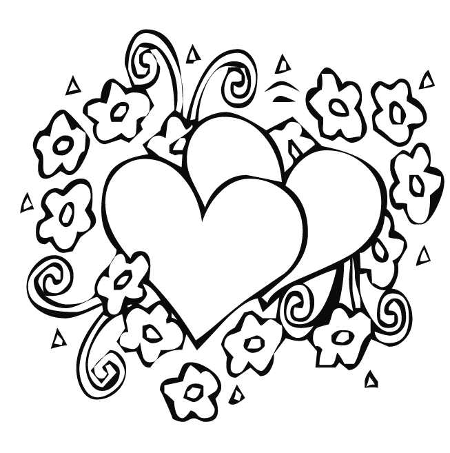 coloring pages of hearts and flowers - heart and flower coloring pages
