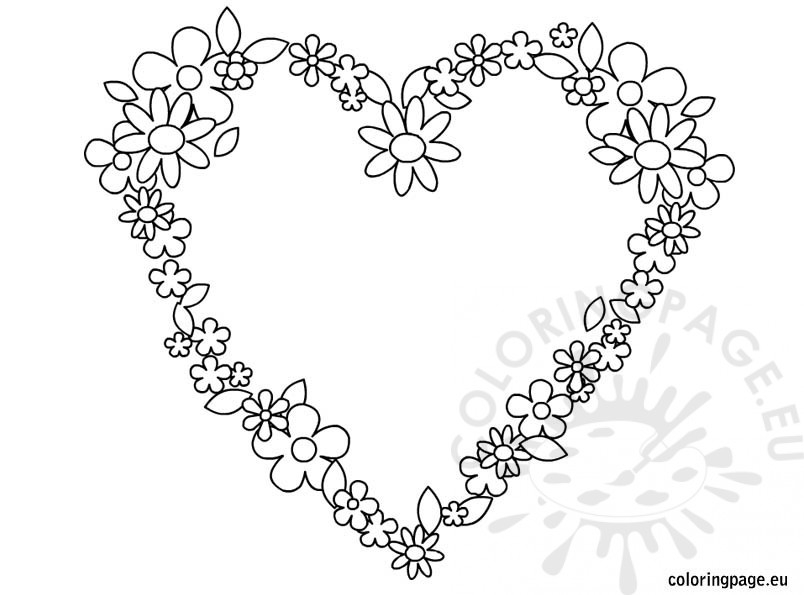 coloring pages of hearts and flowers - heart flowers coloring