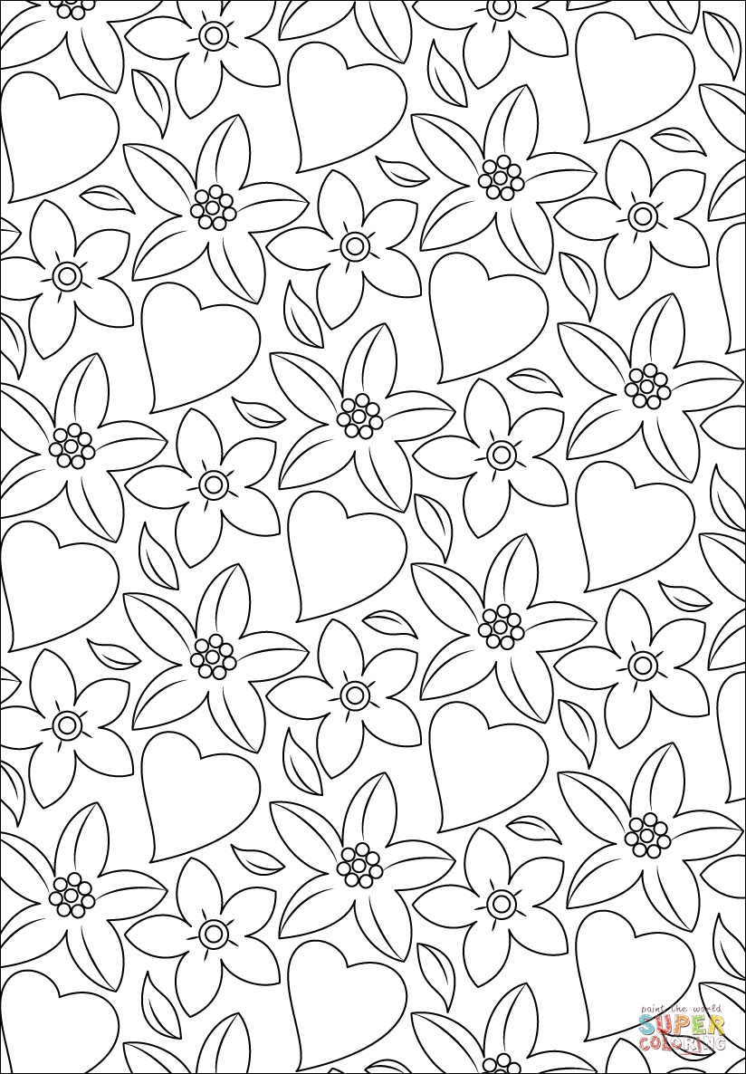 coloring pages of hearts and flowers - hearts and flowers pattern
