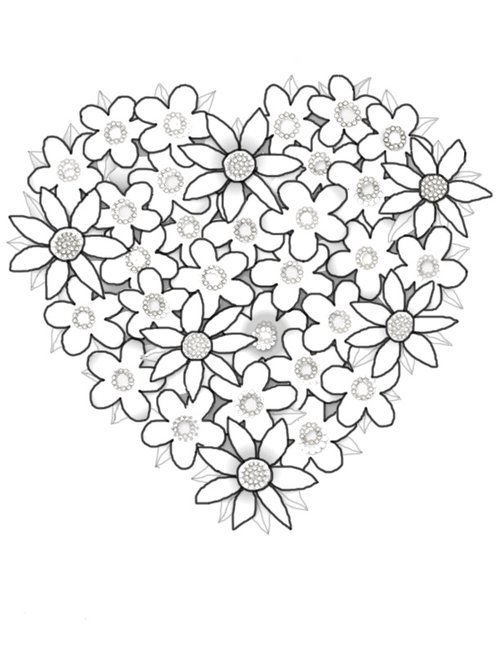 coloring pages of hearts and flowers - hearts flowers coloring pages for kids