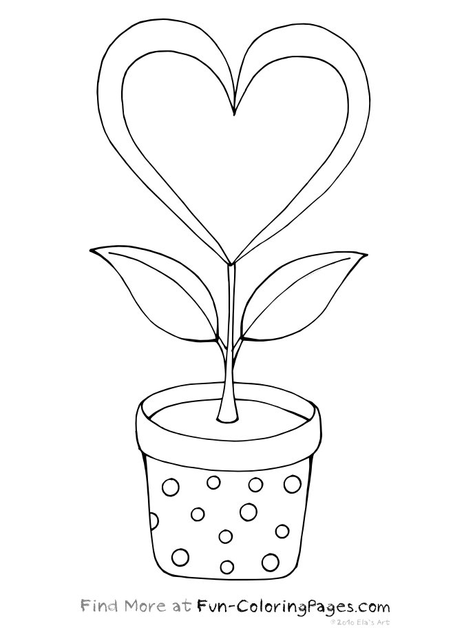 coloring pages of hearts and flowers - print
