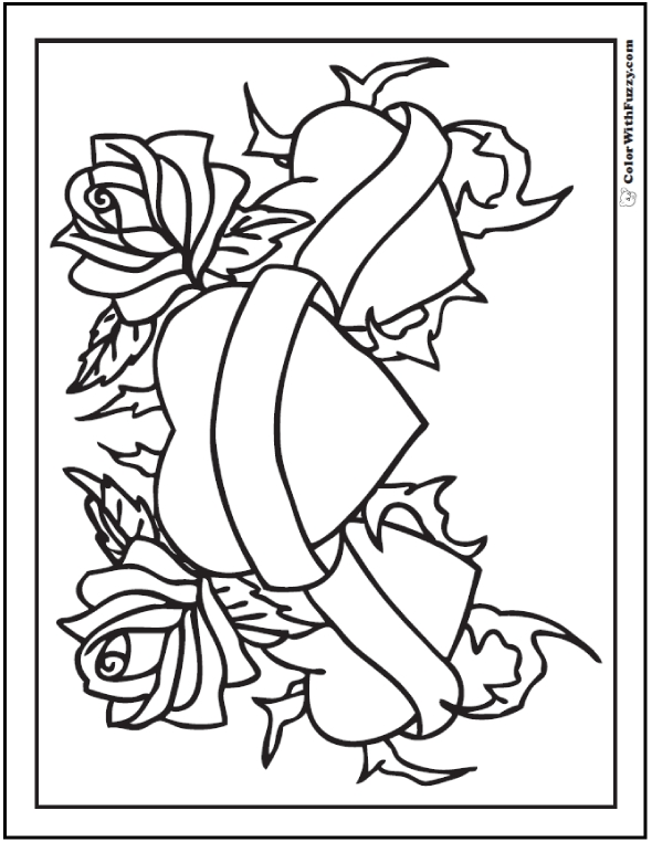 coloring pages of roses and hearts - rose coloring pages