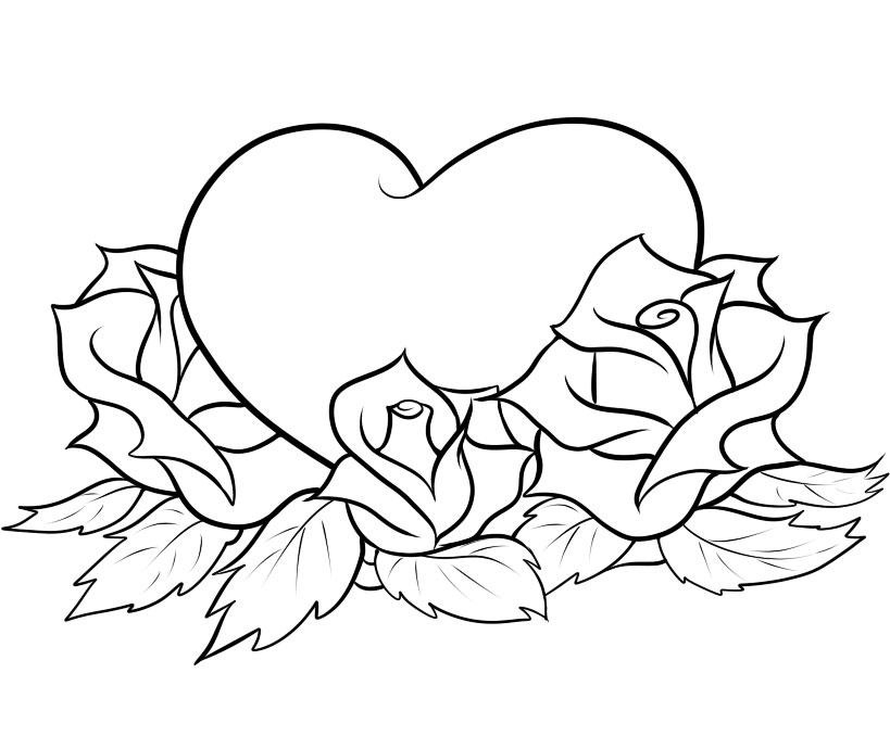 coloring pages of roses and hearts - coloring pages of roses and hearts