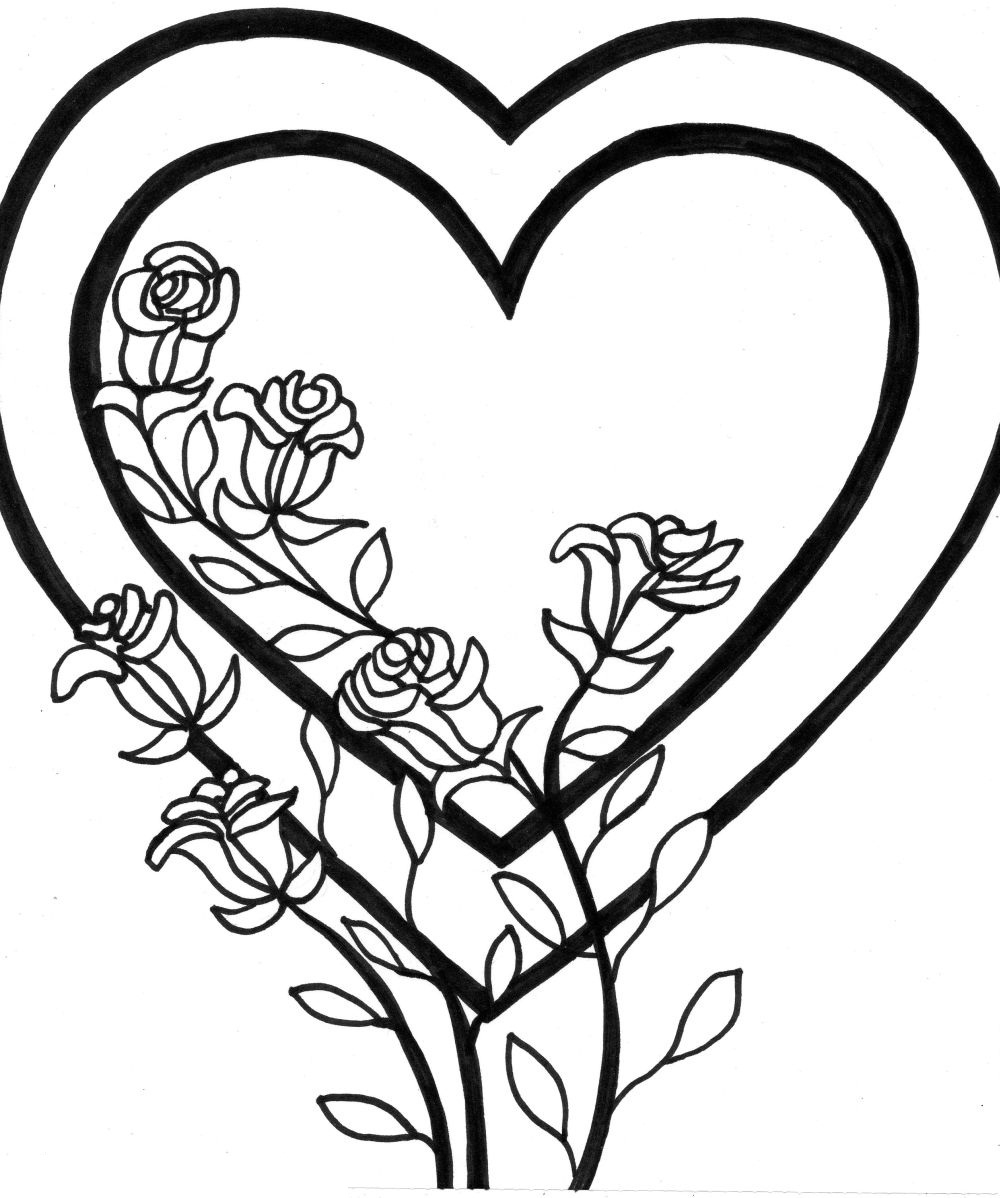 coloring pages of roses and hearts - heart coloring pages