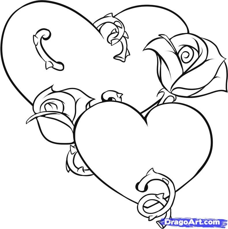 coloring pages of roses and hearts - hearts and roses coloring pages