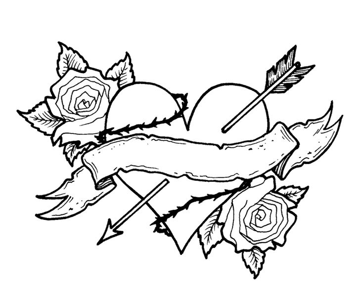 coloring pages of roses and hearts -