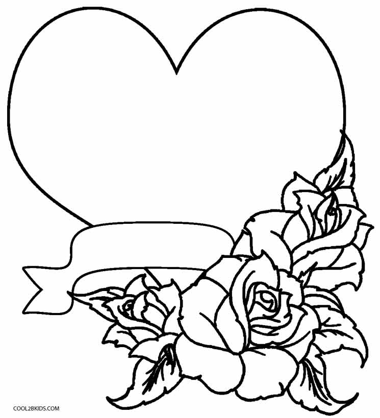 Coloring Pages Of Roses and Hearts - Printable Rose Coloring Pages for Kids