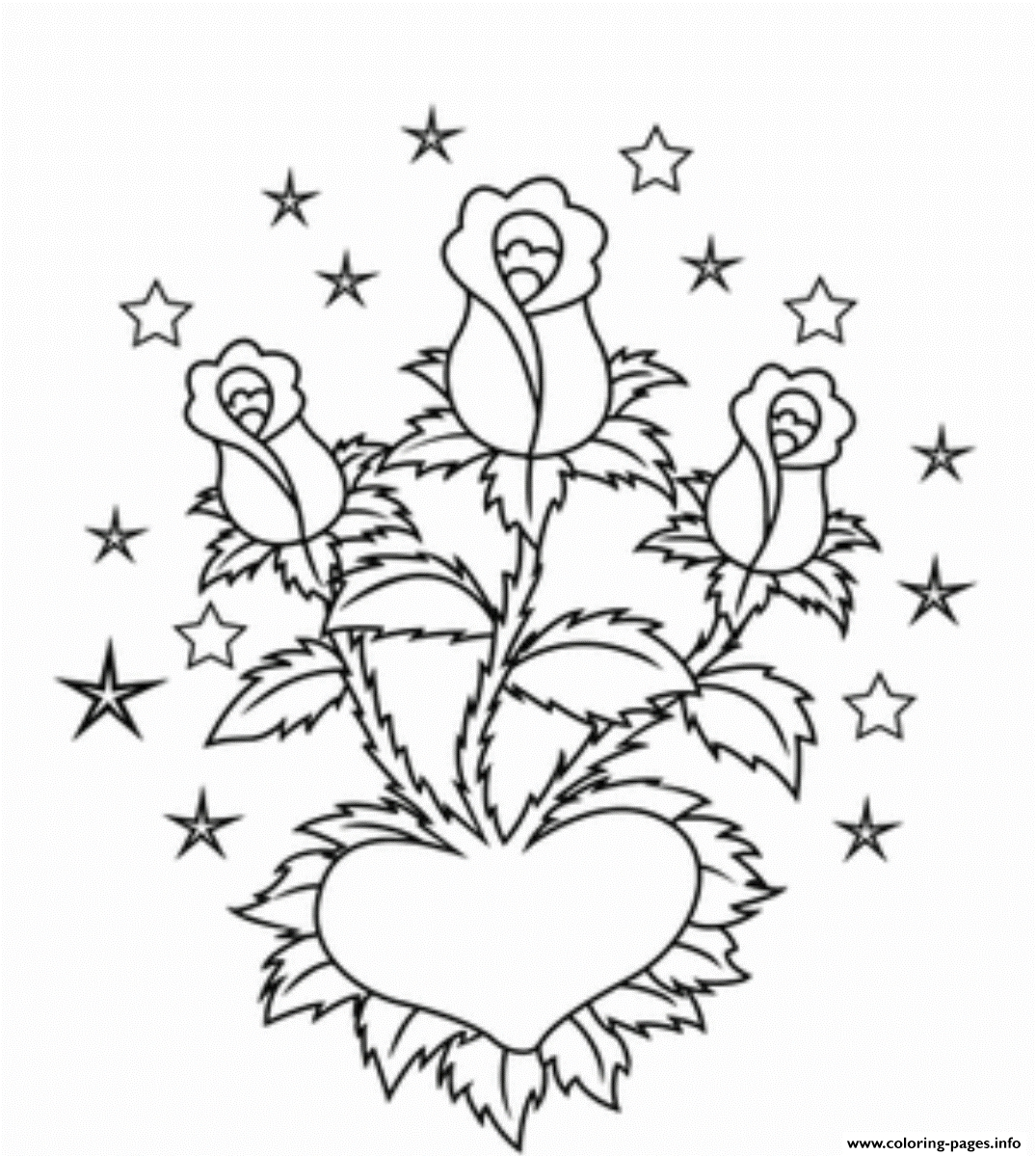 23 Coloring Pages Of Roses and Hearts Printable | FREE COLORING ...