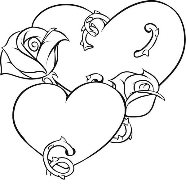 coloring pages of roses and hearts - roses and hearts coloring pages